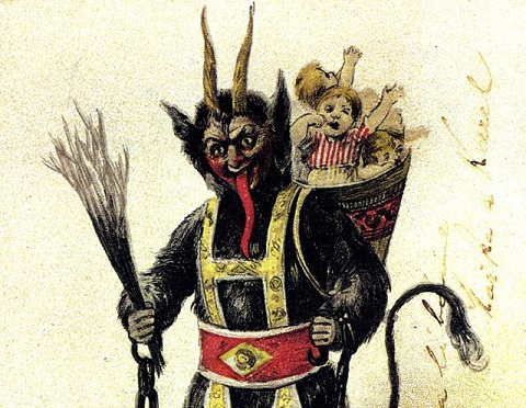 Krampus as pictured on a vintage German Holiday card