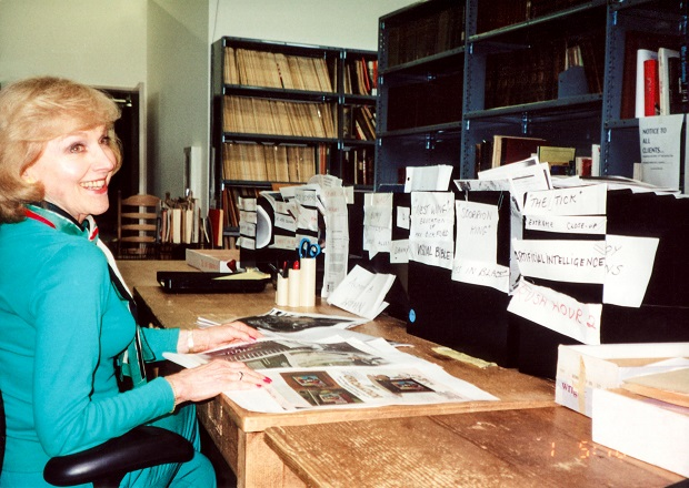 Lillian at her film research library (Photo courtesy of Zeitgeist Films)
